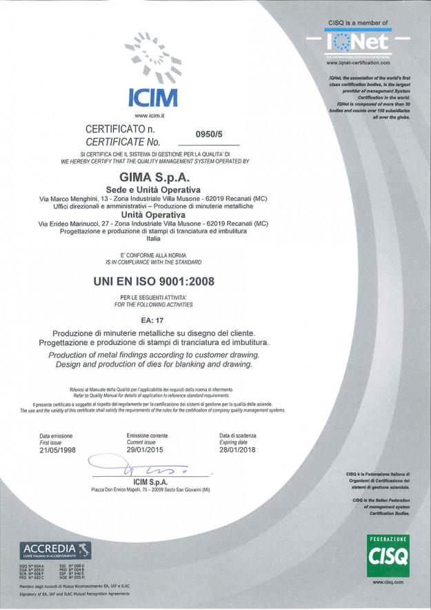 Certificazione sistema di gestione per la qualità lavorazioni meccaniche Gima spa