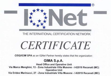 Gima S.p.A. ottiene il rinnovo della certificazione ISO 9001 ed.2015